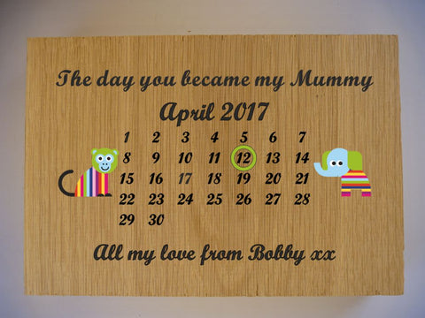 The day you became my Mummy Oak Sign