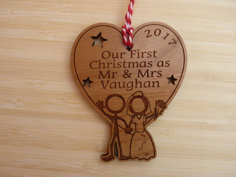 "Personalised ""Our First Christmas as Mr & Mrs"" Decoration"