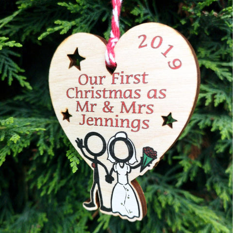 Wooden colour Our First Christmas as Mr & Mrs decoration