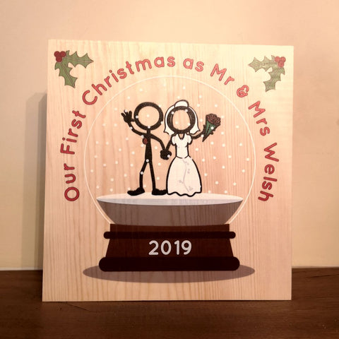 Personalised Our First Chrostmas as Mr and Mrs Snow Globe decoration