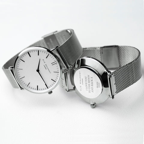 Personalised Ladies Metallic Mesh Strap Watch