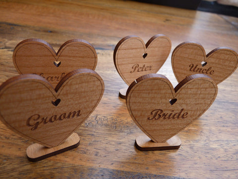 Wooden Heart Place Name Settings