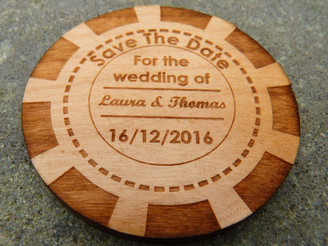 Poker Chip Save The Date fridge magnets