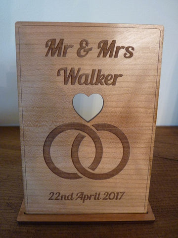 Wedding Rings Wooden card