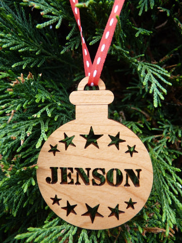Personalised wooden name baubles