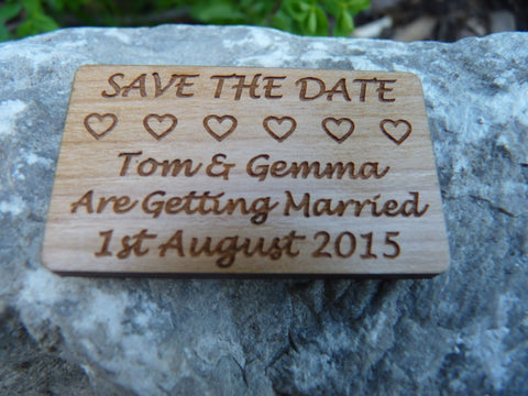 """Save The Date"" Hearts Wood fridge magnets"