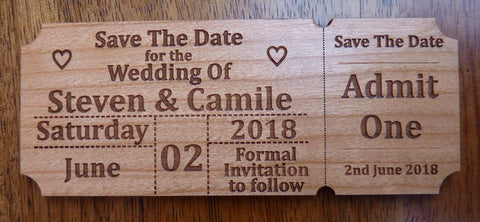Ticket Stub Wooden Save The Date Magnet