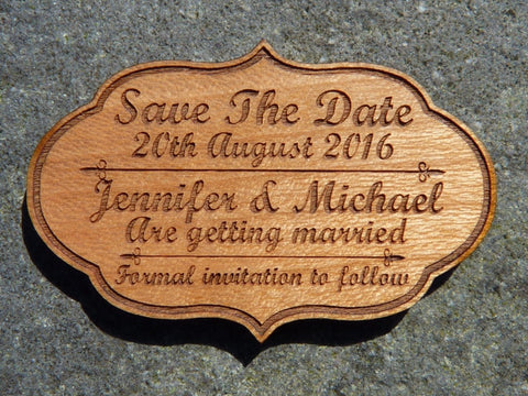 Vintage style Save The Date fridge magnets