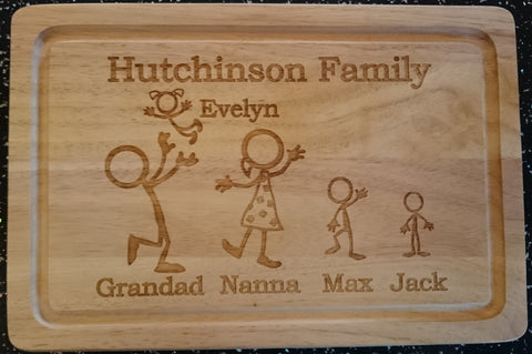 Stickman Family chopping board