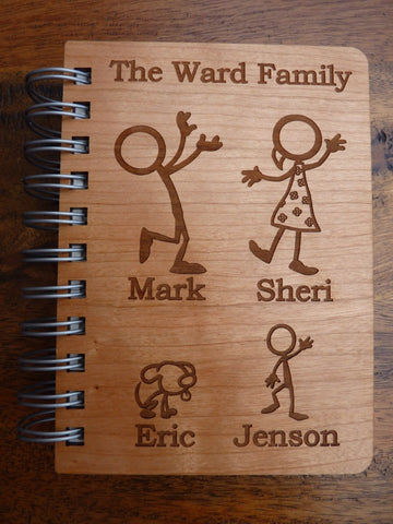 Wooden Stickman Family Notebook