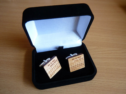 Calendar dated Wedding Cufflinks