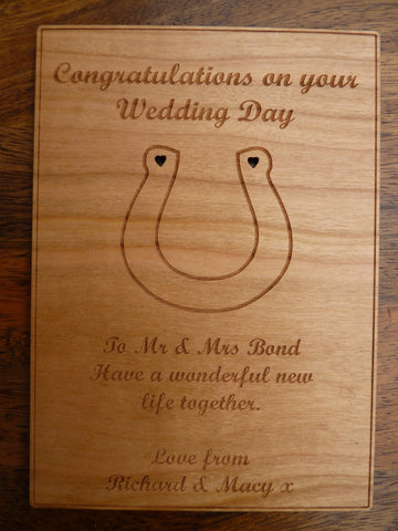 Wedding Horseshoe Wooden Card