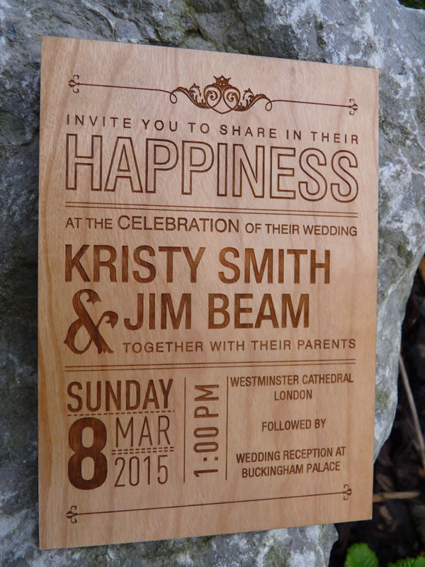 Wooden Personalised Wedding Invitations Personalised Gifts