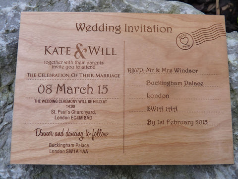 Wooden Postcard Wedding Invitations