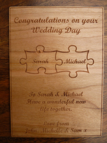 Wooden Jigsaw Pieces Card