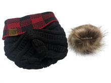 Load image into Gallery viewer, Plaid Beanie with Faux Fur Pom