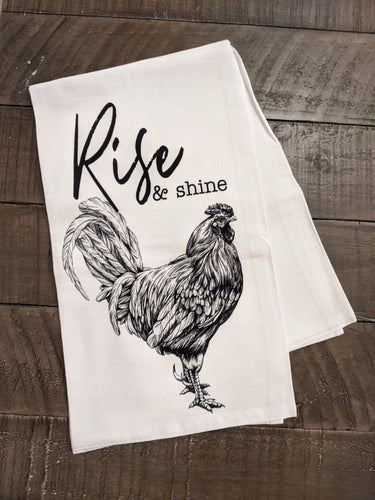 Rise & Shine, 100% Cotton, Flour Sack Dish Towel, Rise & Shine