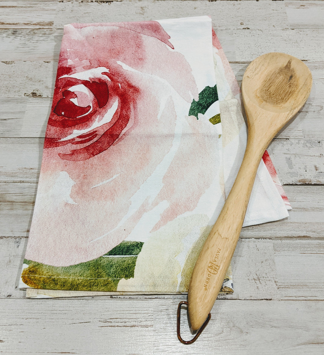 Bold Floral with large cotton foundry logo, 100% Cotton, Flour Sack Dish Towel