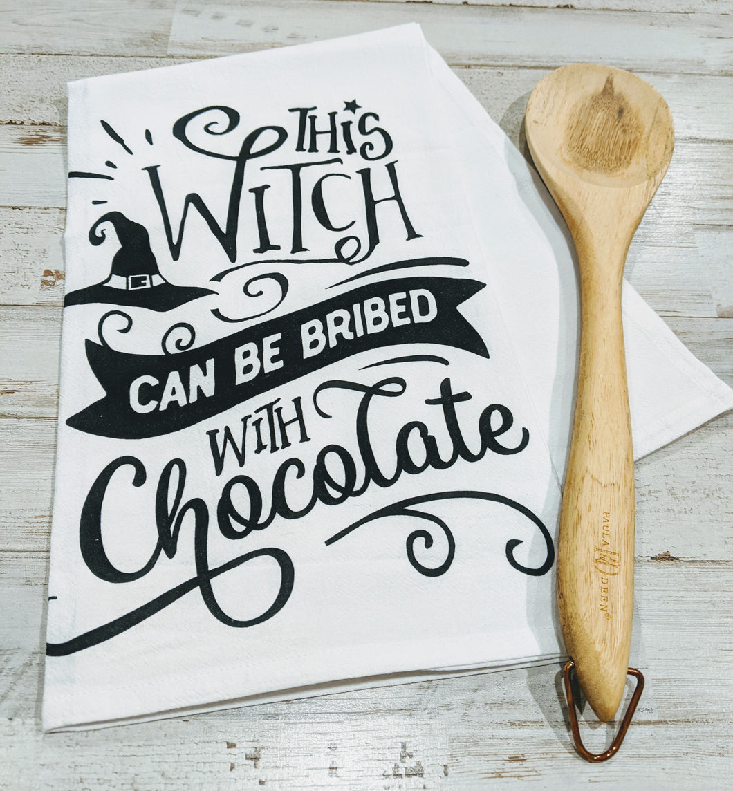 This witch can be bribed with chocolate, 100% Cotton, Flour Sack Dish Towel