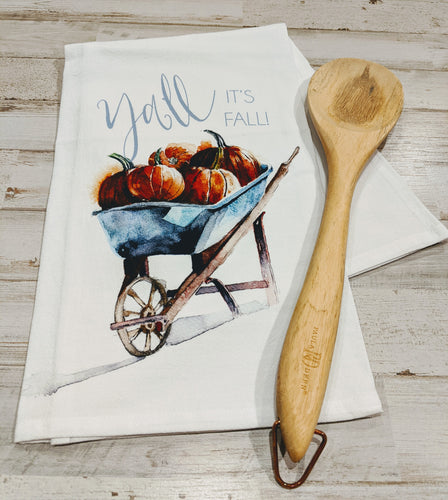 It's Fall Ya'll, 100% Cotton, Flour Sack Dish Towel