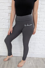 Load image into Gallery viewer, LIFE, LOVE, PEACE - GRAY YOGA BAND leggings BOUJEELEGS