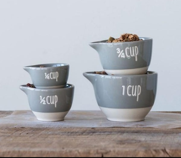 Grey Stoneware Measuring Cups, Set of 4
