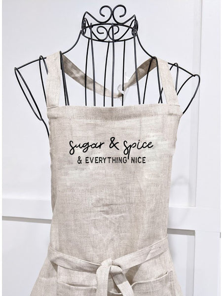 Linen Modern Vintage Apron - Sugar and Spice and everything nice