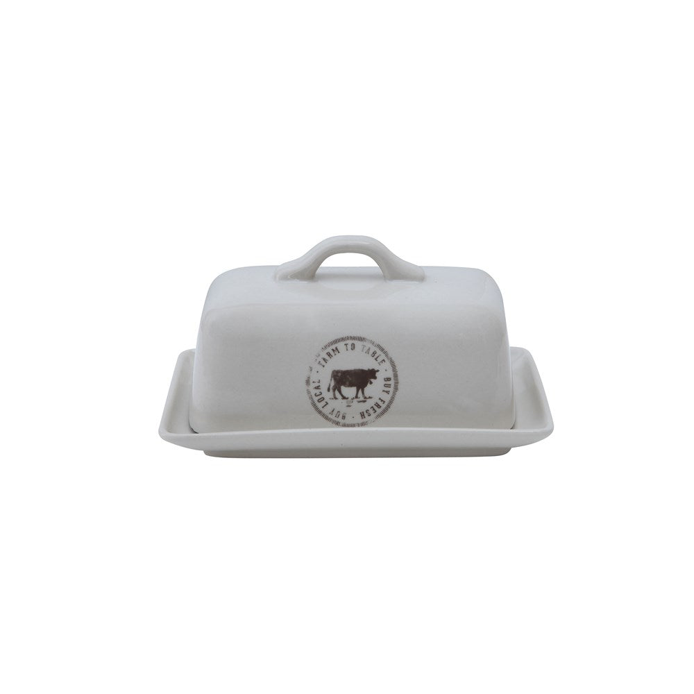 Farmhouse Vintage Stoneware Butter Dish with Cow