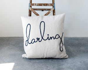 "BIG 26"" ""Darling"" Embroidered Throw Pillow"