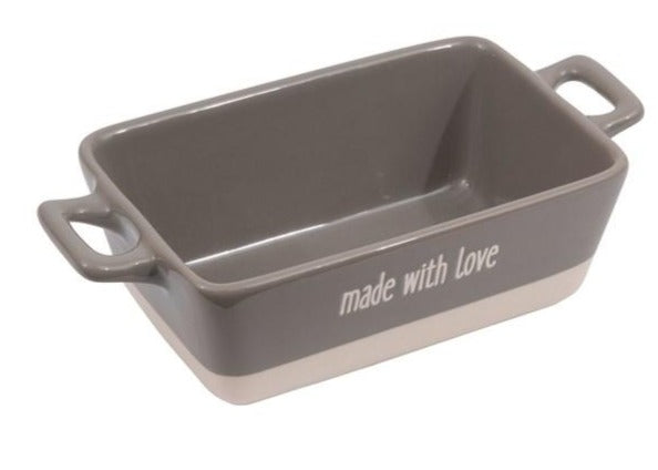 "Grey ""Made With Love"" Stoneware Small Loaf Baker"