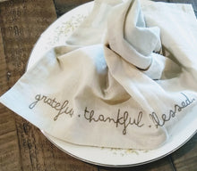 "Load image into Gallery viewer, Cotton Linen Blend Embroidered Napkins, Grey, ""Grateful. Thankful. Blessed."" 4pk."