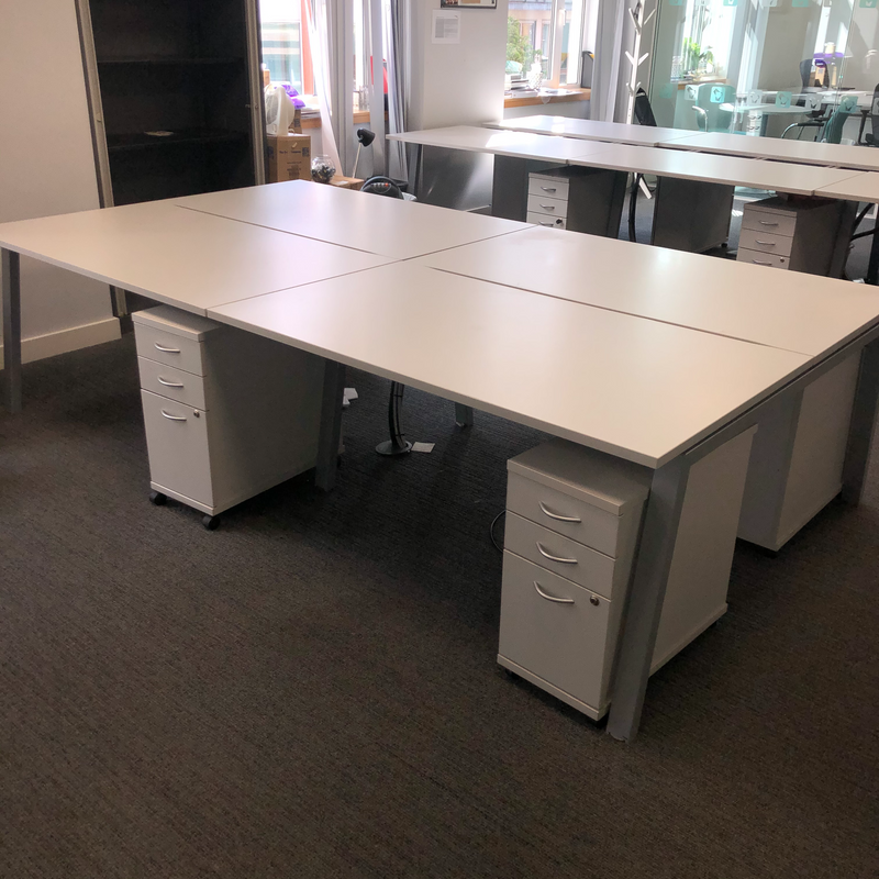 Used 4 Person Bench Desk With Sliding Tops & Cable Trays