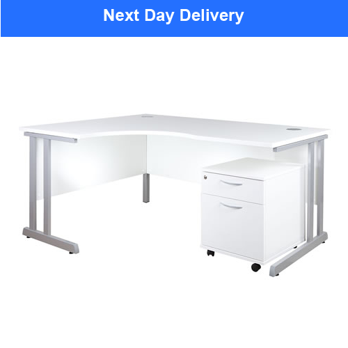 white curve desk