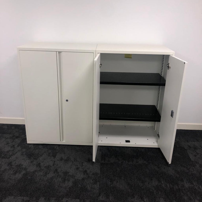 Used White Metal Cupboard with 2 Shelves