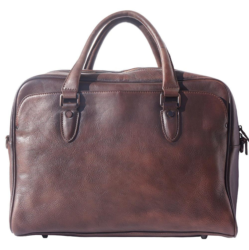 Briefcase in genuine calf natural vintage leather