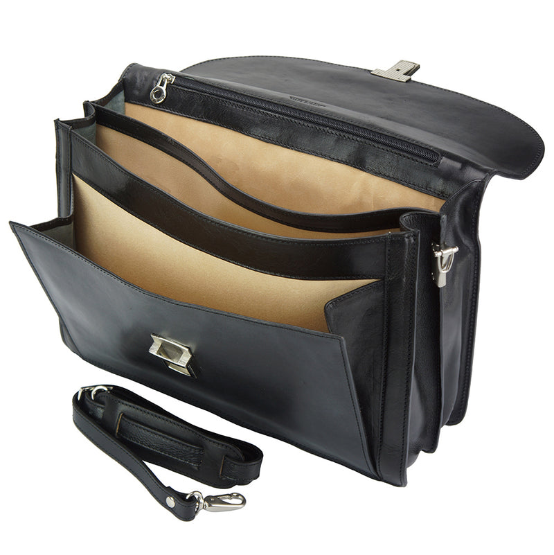 Leather Business Briefcase Beniamino with front pocket