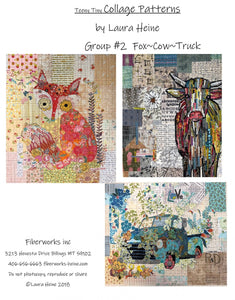 Teeny Tiny Collage PATTERN Group #2 Fox, Truck, Cow by Laura Heine