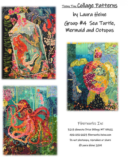 Teeny Tiny Collage PATTERN Group #4 Sea Turtle Mermaid Octopus