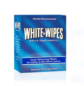 White Wipes - Teeth Whitening Wipes for Coffee & Red Wine Lovers | 3 boxes of 12 wipes per order