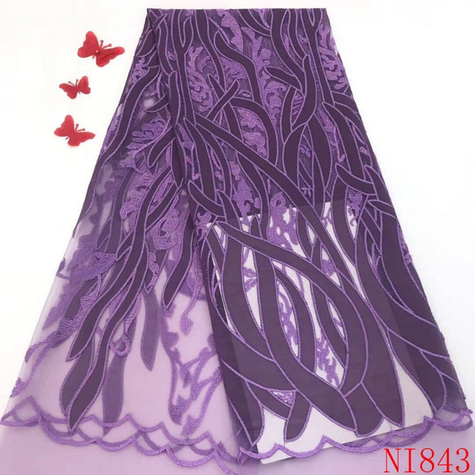 New Design Tulle Lace Fabric Quality Net Embroided Lace Apliques For Wedding Dress 5 Yards
