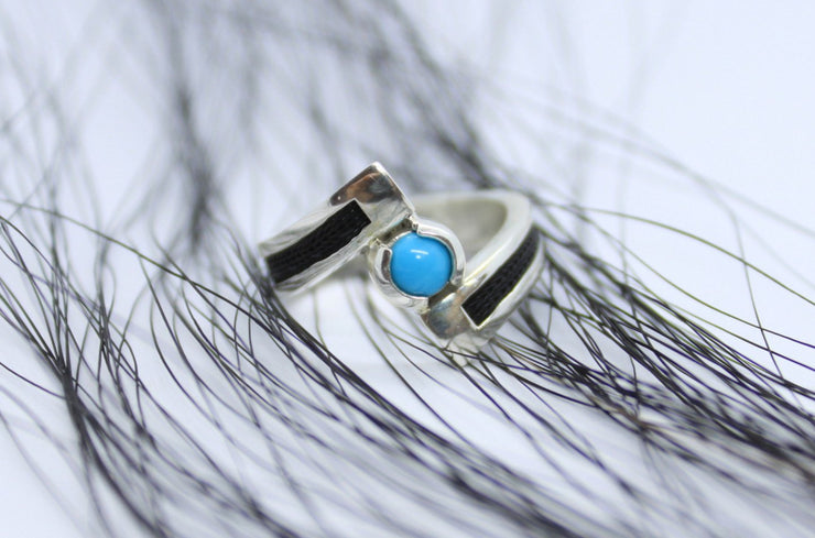 turquoise horse hair ring, turquoise, horsehair jewelry