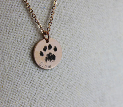 Paw & Nose Print Coin Necklace