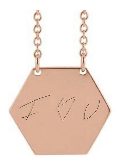 Handwriting Hex Necklace