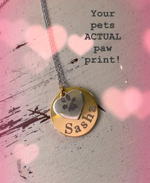 paw print, paw print necklace, engraved paw print, nose print