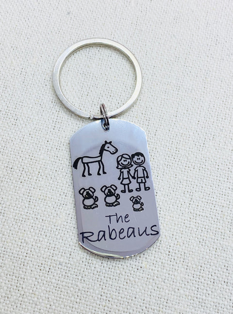 Stick Family Key Tag