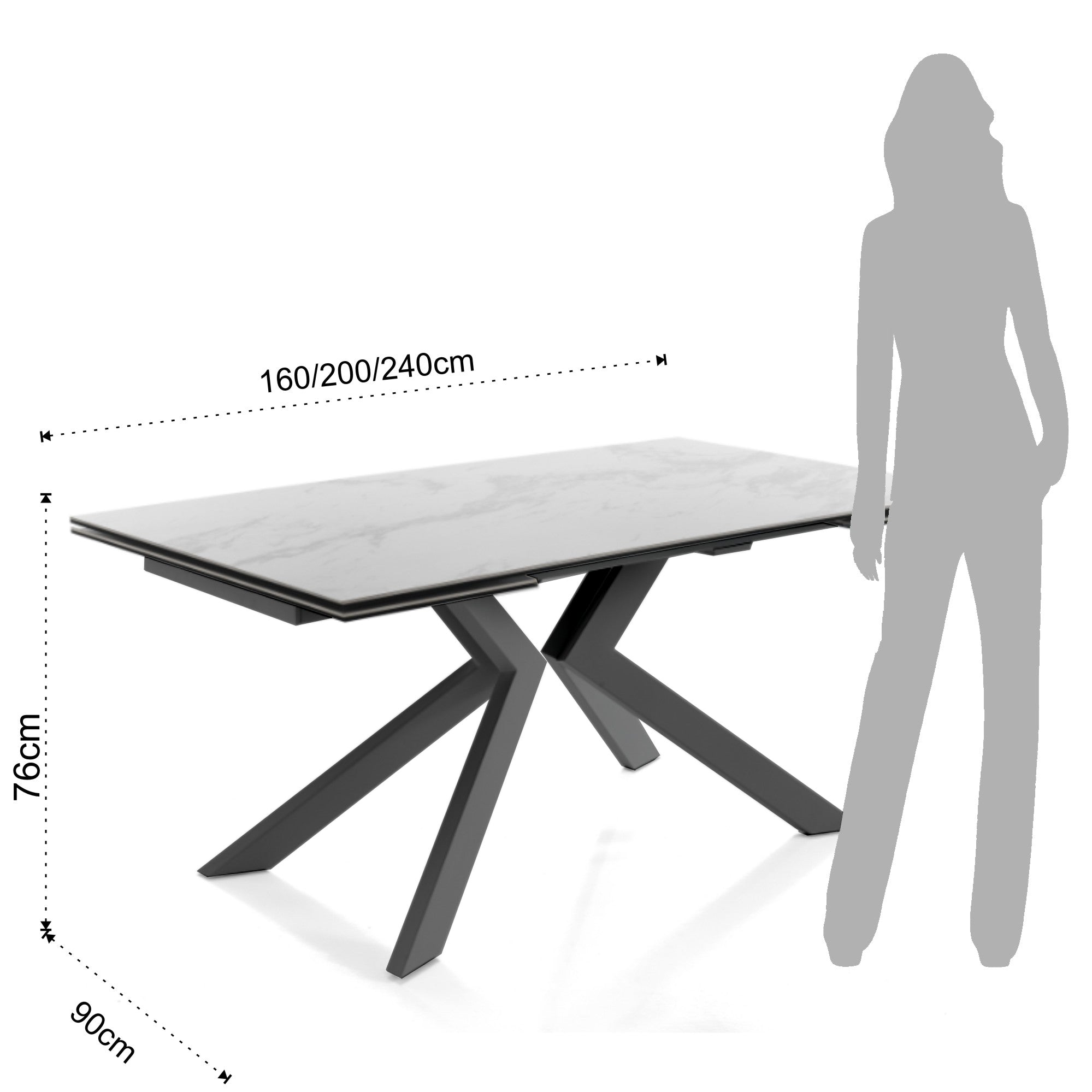 Extendable Table - Tips Evolution - Marble / Grey