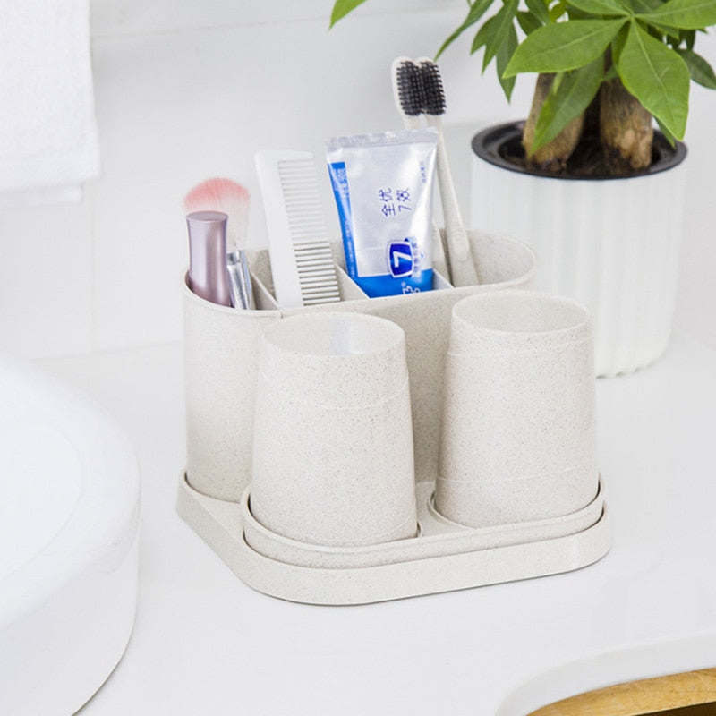 1 set of straw toothbrush holder