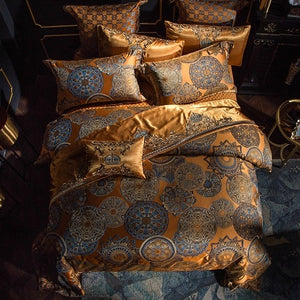Golden Silver Satin Cotton Bed set