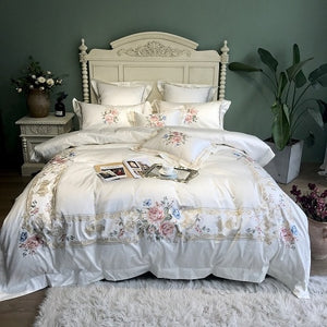 Cotton Luxury Embroidery White Bedding Set