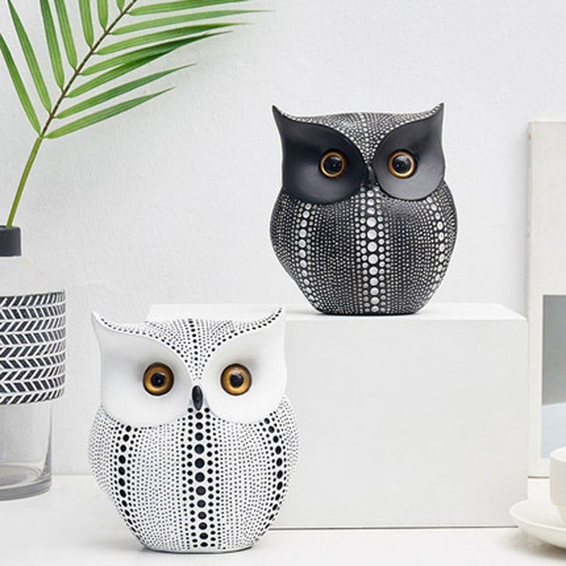 White Black Owls Animal Figurines